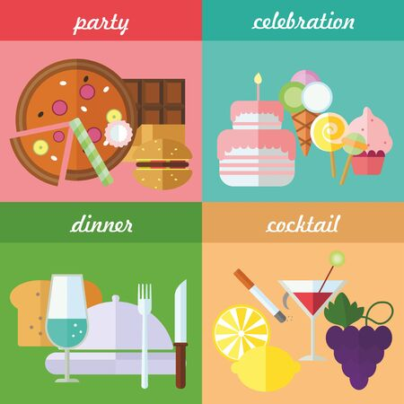 dinner party: Set of flat design concepts of party food, celebration food, festive dinner, cocktail on colored background Illustration