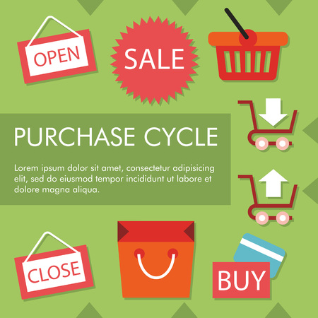 Infographic concept of purchase cycle on green background, with sample text Vector