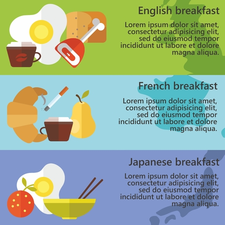 english breakfast: Set of flat design concepts of traditional English, French and Japanese breakfast on colored background