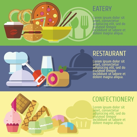 Set of flat design concepts of catering places, including eatery, restaurant, confectionery Vector