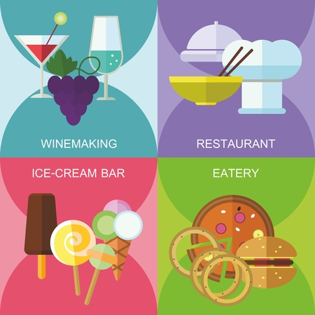 eatery: Set of flat design concepts of catering places, including winery, restaurant, ice-cream bar, eatery on colored background