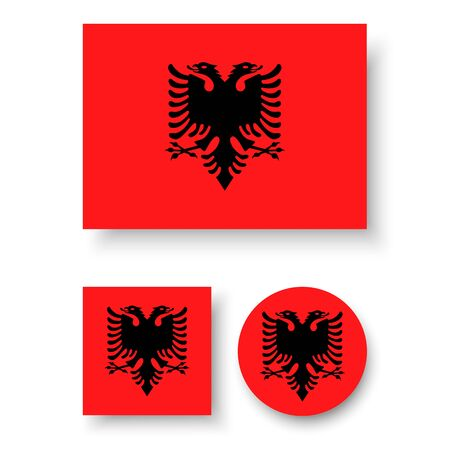double headed eagle: Set of vector icons with Albania flag Illustration