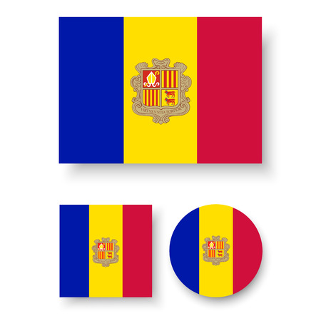 andorra: Set of vector icons with Andorra flag Illustration
