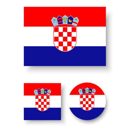 croatia flag: Set of vector icons with Croatia flag