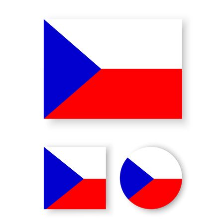 the czech republic: Set of vector icons with Czech Republic flag