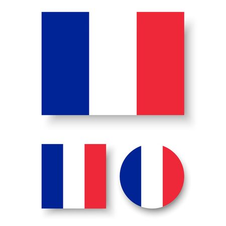 round button: Set of vector icons with France flag Illustration