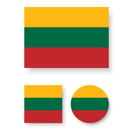 lithuania flag: Set of vector icons with Lithuania flag