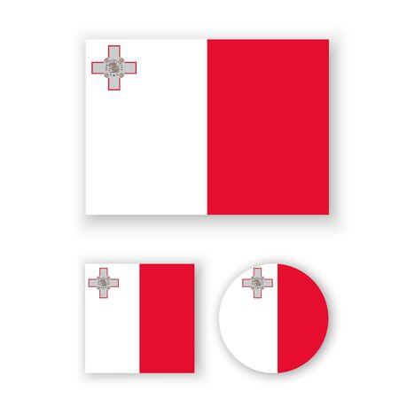 malta: Set of vector icons with Malta flag