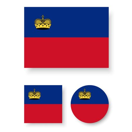 liechtenstein: Set of vector icons with Liechtenstein flag