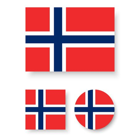 norway flag: Set of vector icons with Norway flag Illustration