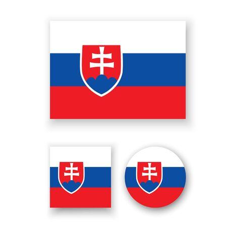 slovakian: Set of vector icons with Slovakia flag Illustration