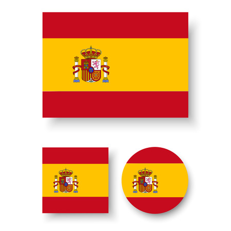 spain flag: Set of vector icons with Spain flag Illustration