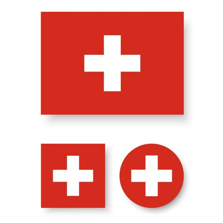 Set of vector icons with Switzerland flag Vector
