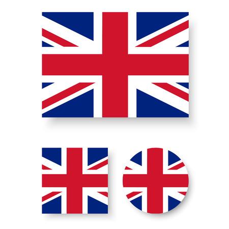 Set of vector icons with United Kingdom flag Illustration