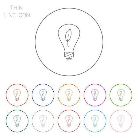 environment friendly: Line icon of environment friendly lightbulb with leaf inside