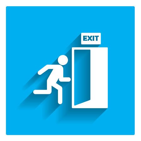 戸口に走る男の姿と終了記号のアイコン