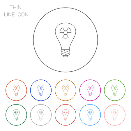 radiation sign: Line icon of lightbulb with radiation sign inside