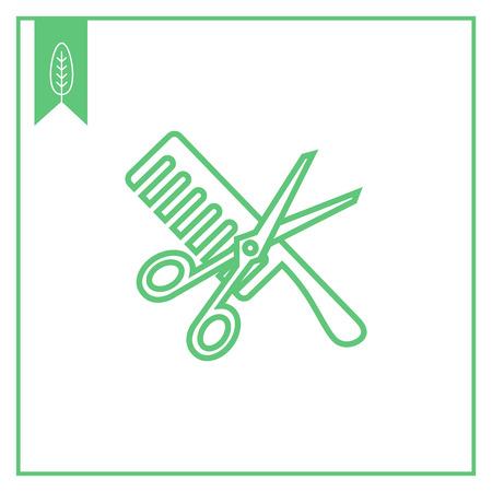 hairdos: Icon of crossed scissors and comb