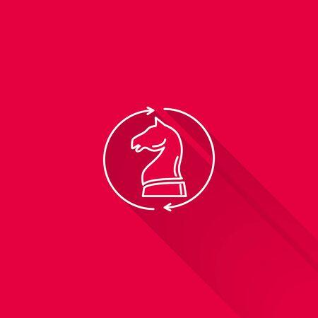 chess knight: Icono del caballo de ajedrez en el c�rculo hecha de flechas Vectores