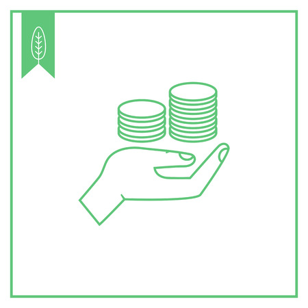 Icon of human palm holding stacks of coins