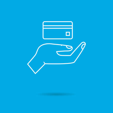 finance background: Icon of human palm holding credit card