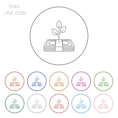 banknote: Icon of tree growing on banknote stack