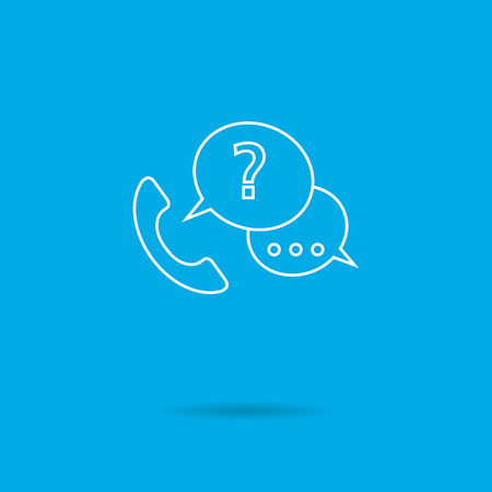 receiver: Icon of telephone receiver with speech bubbles and question mark