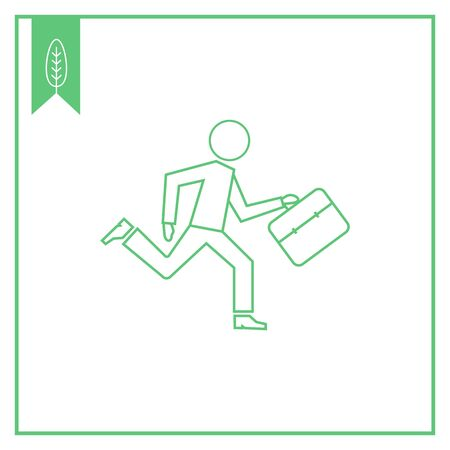 Icon of running businessman holding briefcase Vector