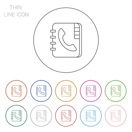 telephone receiver: Icon of telephone book with telephone receiver on cover Illustration