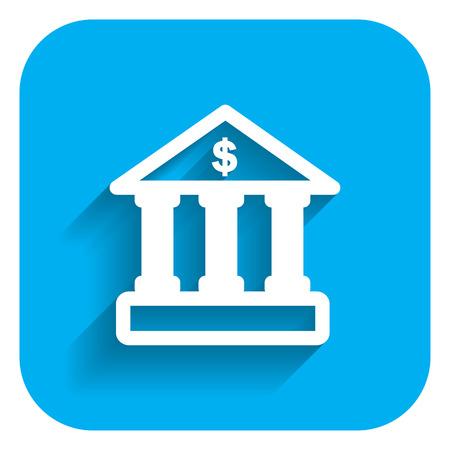 bank building: Icon of bank building facade with dollar sign