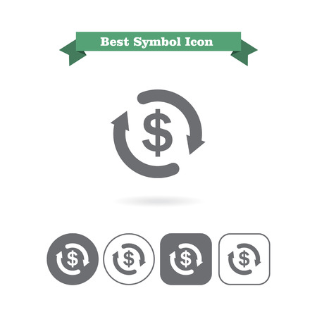 economic cycle: Icon of dollar sign in circle made of arrows