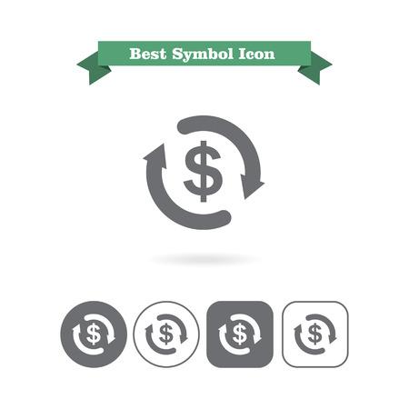 sign in: Icon von Dollarzeichen in Kreis von Pfeilen gemacht Illustration