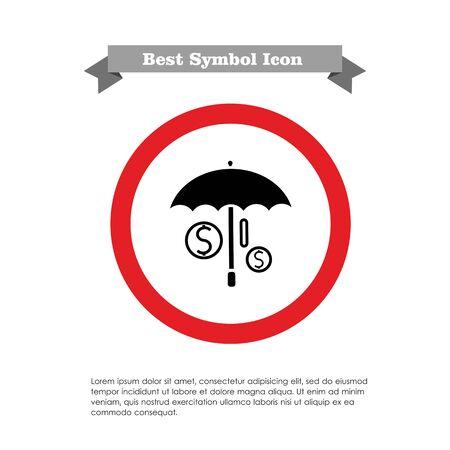 Icon of umbrella covering dollar signs Vector