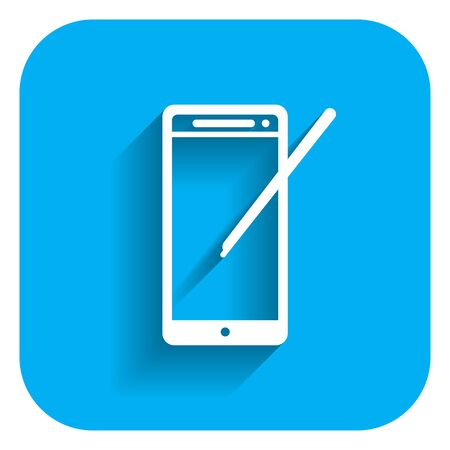 stylus: Icon of smartphone with stylus