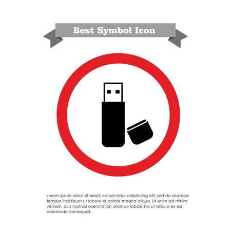 Icon of USB flash drive with open cover Vector