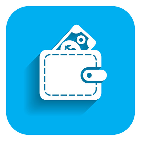 banknote: Icon of wallet with dollar banknote