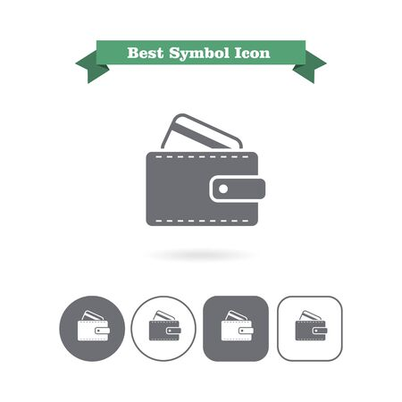 Icon of wallet with credit card Vector