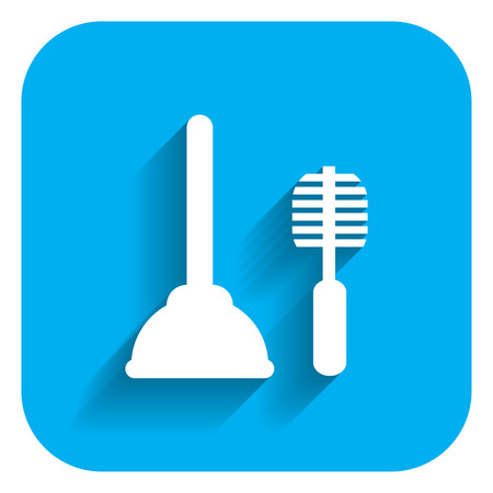 toilet brush: Icon of plunger and toilet brush
