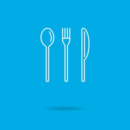 fork knife: Icon of fork, knife and spoon Illustration