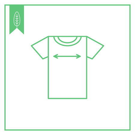 size: Icon of t-shirt and two-sided arrow depicting its size