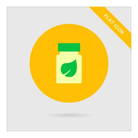 supplement: Icon of dietary supplement bottle with leaf picture