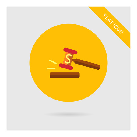 bidder: Icon of gavel with S letter Illustration