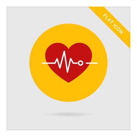 electrocardiograma: Icono del corazón y electrocardiograma Vectores