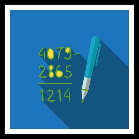 calculation: Icon of calculation process with written figures and pen