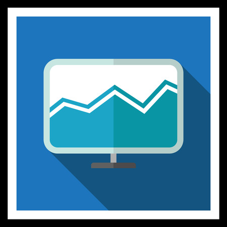 histogram: Icon of Computer monitor with histogram on screen