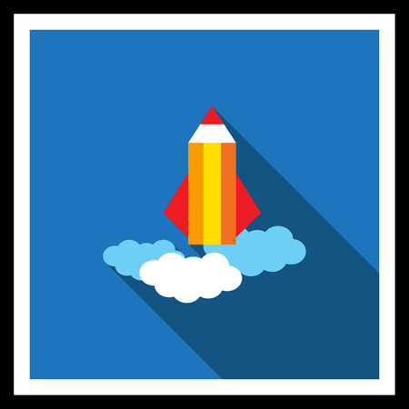 launched: Icon of pencil rocket being launched and flying in sky