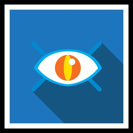 ojo humano: Icon of open human eye with lashes Vectores