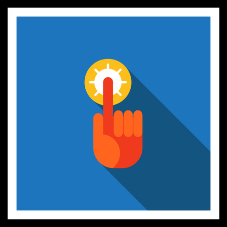 upwards: Icon of human index finger with glowing tip pointing upwards