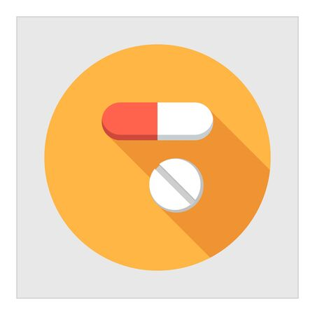 symbol of pharmacy: Icon of capsule and pill