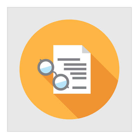 paper sheet: Icon of text document and spectacles Illustration